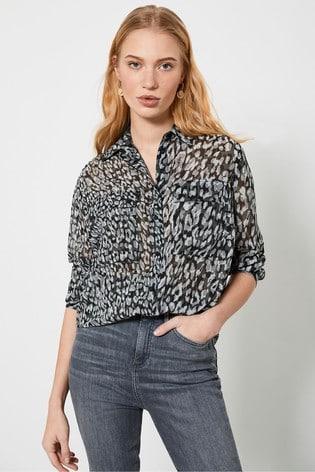 Mint Velvet Zoe Animal Print Utility Shirt