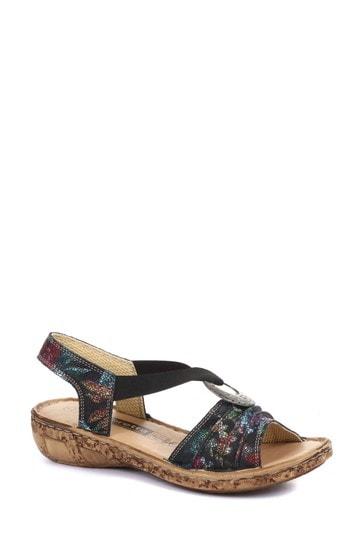 Loretta Black Ladies Wide Fit Leather Sandals