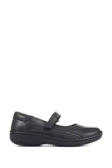 Loretta Black Ladies Wide Fit Leather One Touch Mary Jane Shoes