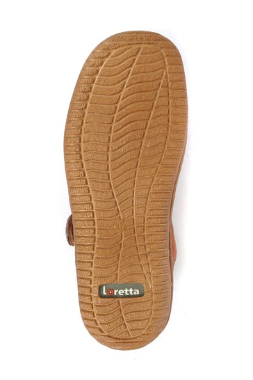 Loretta Tan Ladies Wide Fit Touch-Fastening Mary Jane Shoes