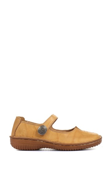 Loretta Yellow Ladies Wide Fit Touch-Fastening Mary Jane Shoes