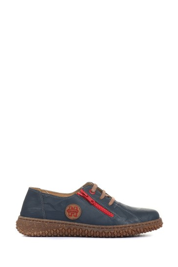 Loretta Navy Leather Ladies Lace-Up Shoes
