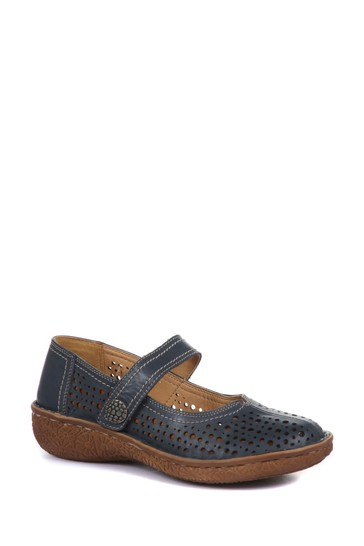 Loretta Navy Ladies Wide Fit Leather Mary Jane Shoes