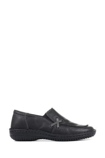 Loretta Black Ladies Handmade Leather Slip-On Shoes