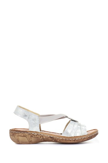 Loretta Silver Ladies Wide Fit Leather Sandals