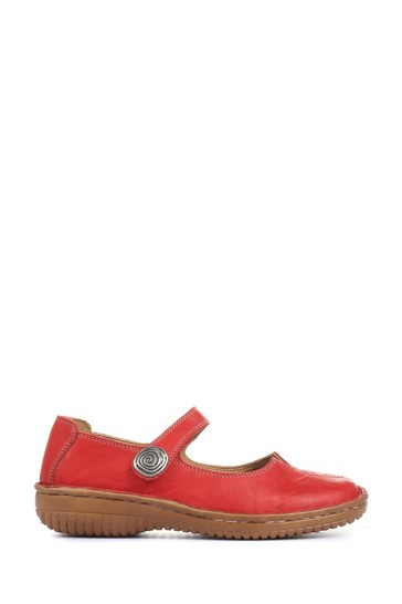 Loretta Red Ladies Wide Fit Touch-Fastening Mary Jane Shoes