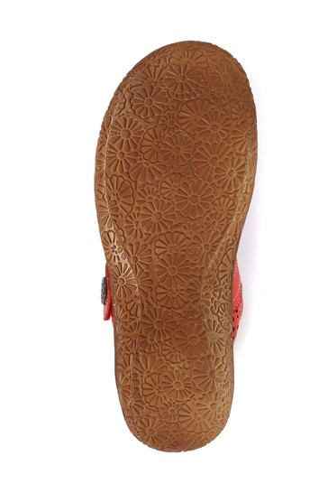 Loretta Red Ladies Wide Fit Leather Mary Jane Shoes