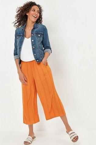 M&Co Orange Crinkle Crop Culottes