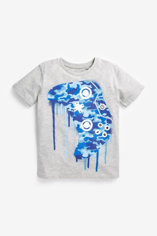 Blue Camo Controller Graphic T-Shirt (3-16yrs)