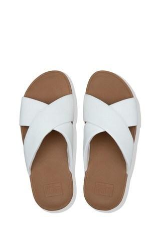 FitFlop White Lulu Cross Sliders