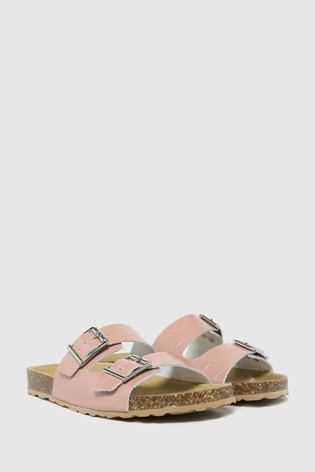 Schuh Pink Trust Croc Leather Double Buckle Sandals