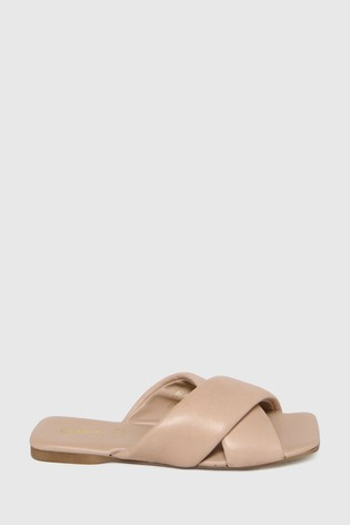 Schuh Natural Tania Leather Cross Strap Sandals
