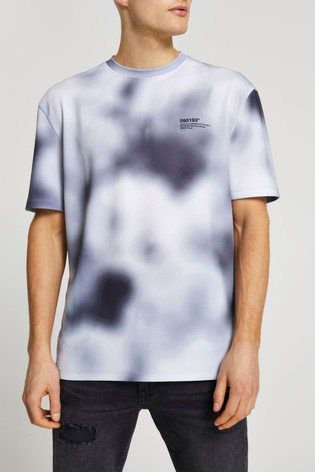 River Island Black Regular Texture Blur Print T-Shirt