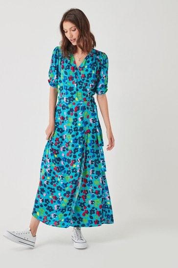 Blue Floral Midi Wrap Dress