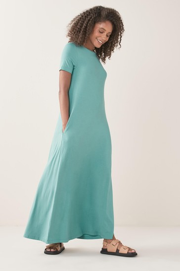Teal Column Maxi T-Shirt Dress