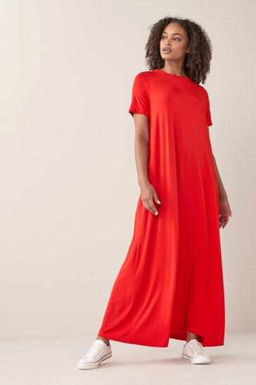 Red Column Maxi T-Shirt Dress