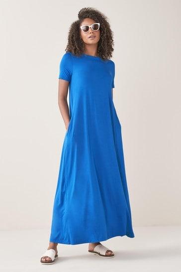 Blue Column Maxi T-Shirt Dress