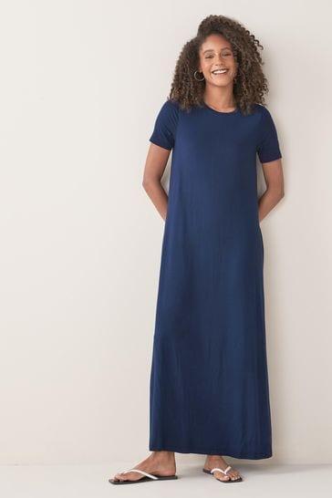 Navy Column Maxi T-Shirt Dress