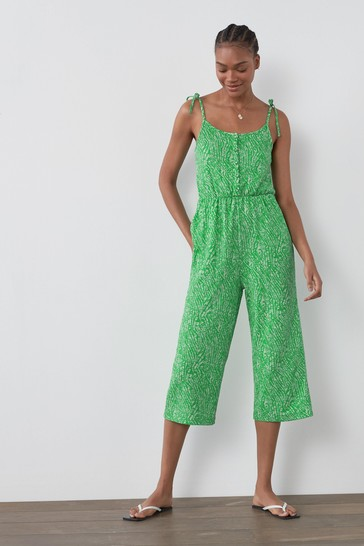 Green Print Strappy Jumpsuit