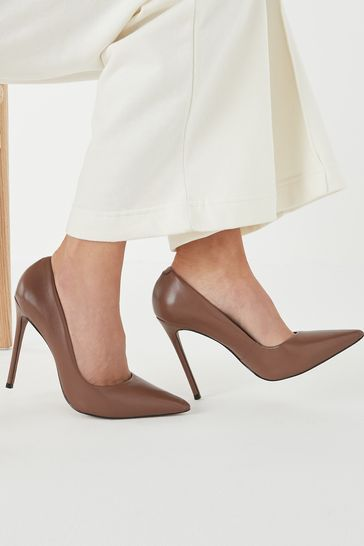 Taupe Signature Leather Court Shoes