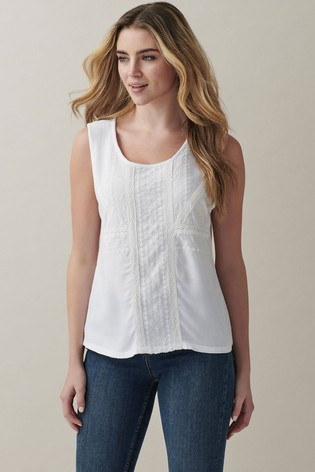 Crew Clothing Company White Broderie Lace Top
