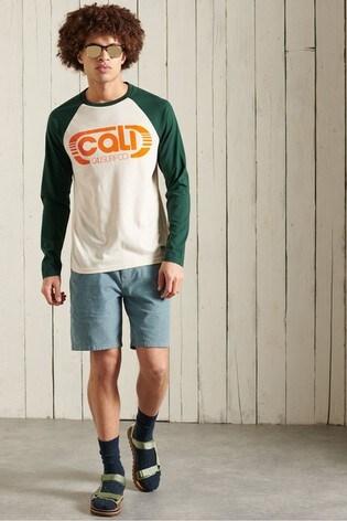 Superdry Organic Cotton Cali Surf Long Sleeve Baseball Top