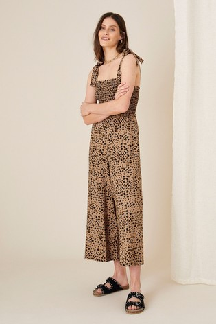 Monsoon Natural Animal Print Shirred Jumpsuit