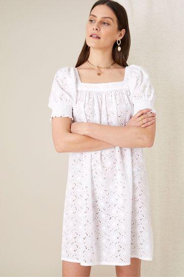 Monsoon White Broderie Square Neck Dress