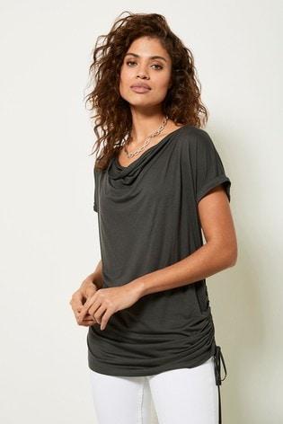 Mint Velvet Khaki Longline Ruched T-Shirt