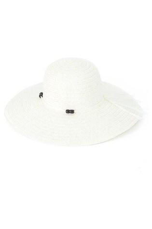 HotSquash White Bead Detail Women's Sun Hat