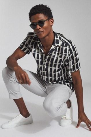 Reiss Black Dennis Printed Cuban Collar Shirt