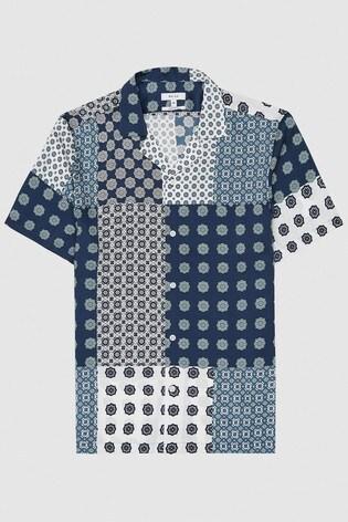 Reiss Blue Jamie Printed Cuban Collar Shirt