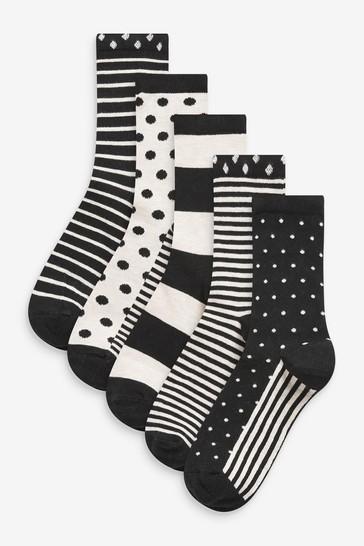 Monochrome Spot And Stripe Ankle Socks 5 Pack