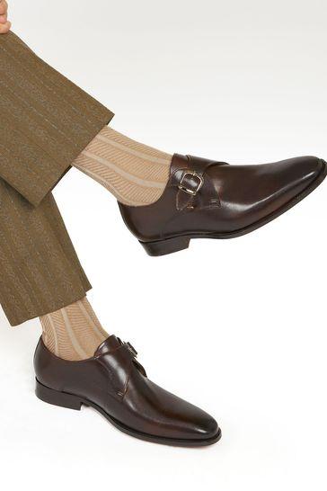 Jones Bootmaker Brown Justin Men's Leather Single Strap Monk Shoes