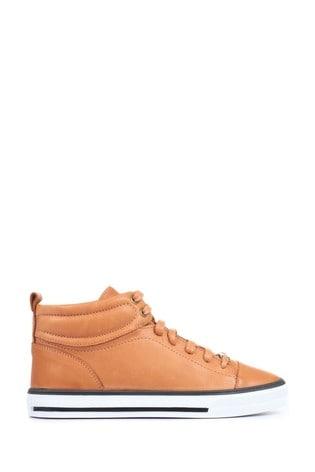 Jones Bootmaker Tan Brompton Leather Ladies High Top Trainers
