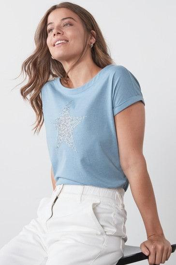 Blue Star Curved Hem T-Shirt