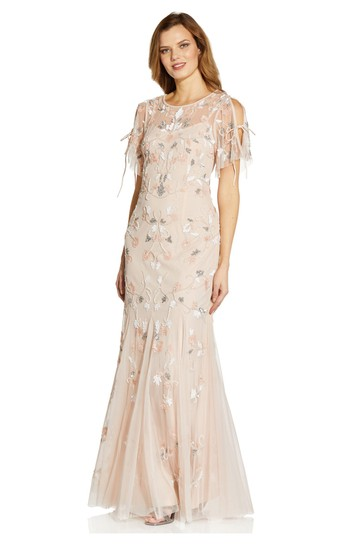 Adrianna Papell Pink Beaded Flutter Sleeve Gown