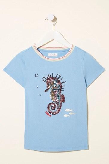 FatFace Seahorse Sequin T-Shirt