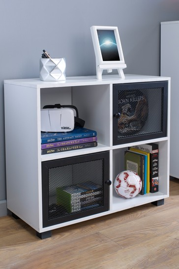 4 Cube with 2 Mesh Black Doors in White By Lloyd Pascal