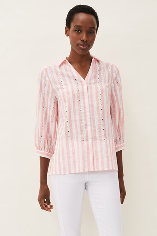 Phase Eight Pink Nanette Stripe Broderie Shirt
