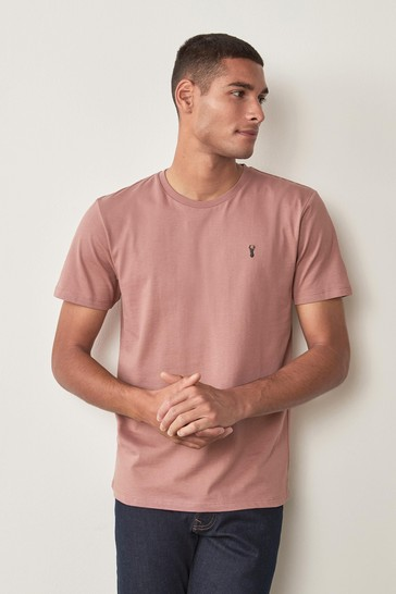 Pink Regular Fit Stag T-Shirt