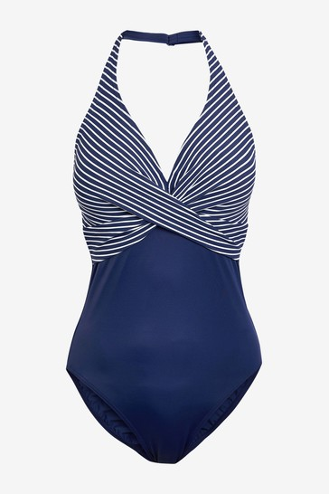 Figleaves Blue Underwired Tummy Control Swimsuit