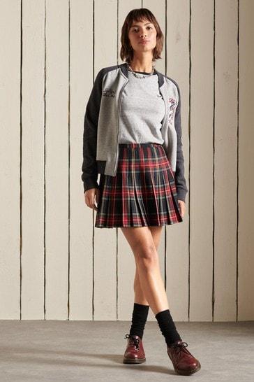 Superdry Womens Purple Check Mini Skirt