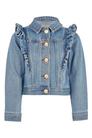 River Island Blue Denim Frill Jacket