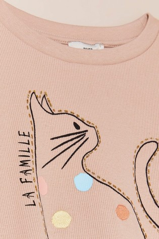 River Island Pink Cat Graphic T-Shirt