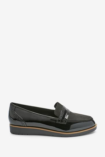 Black Material Mix Extra Wide Fit Forever Comfort™ Brogue Detail Chunky Sole Loafers