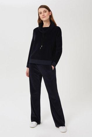 Hobbs Blue Erin Velvet Trousers