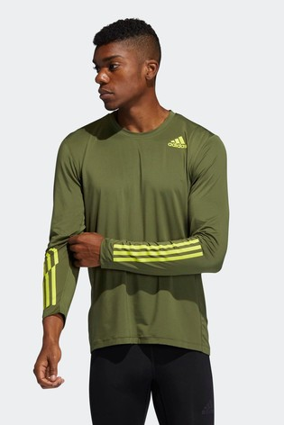 adidas Techfit 3 Stripes Fitted Long Sleeve Top