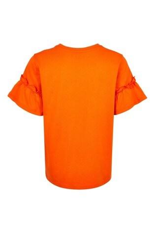 River Island Orange Slogan Ruffle Sleeve T-Shirt
