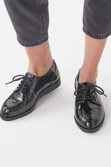 Black Extra Wide Fit EVA Lace-Up Patent Shoes